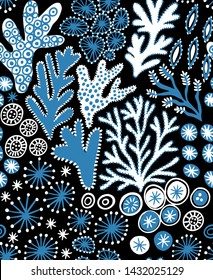 Seamless hand drawn pattern with coral reef. Vector colorful illustration on dark  background. Undersea reef flora pattern