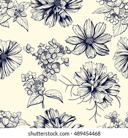 Seamless hand drawn pattern, dark blue flowers - cosmea and hortensia, vintage design, flowers are isolated, vector illustration