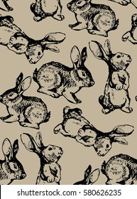 Seamless hand drawn pattern with easter rabbit. Background with bunny for wallpapers, textile, paper.