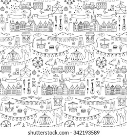 Seamless hand drawn pattern with festival elements. Vector illustration of doodle festival elements for backgrounds, wrapping, wallpaper, textile prints