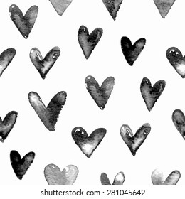 Seamless hand drawn pattern with hearts. Vector illustration