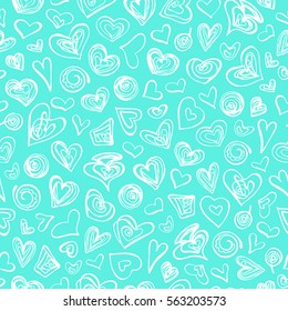 Seamless hand drawn pattern with hearts. Vector graphic illustration.
