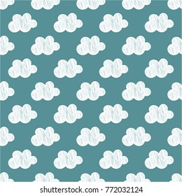 Seamless hand drawn pattern made with white doodle clouds