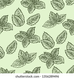 Seamless hand drawn pattern of mint leaves.