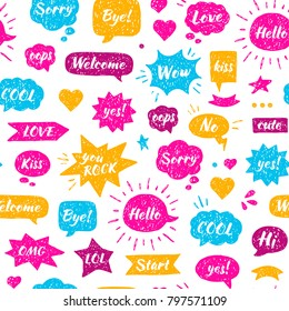 Seamless Hand drawn pattern. Speech bubbles with isolated dialog words: Hello, Hi, Sorry, Welcome, Bye, No, Yes