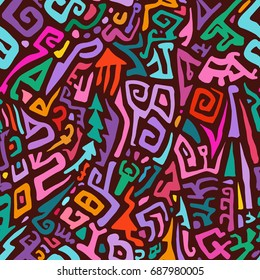 Seamless Hand Drawn Pattern in Tribal Style. Colorful Vector Background for Textile Design