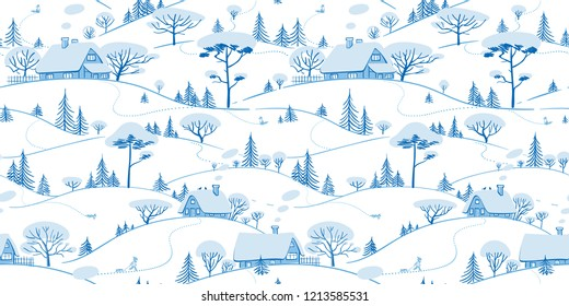 Seamless hand drawn pattern. Winter Landscape background. Ornamental texture for wallpaper, pattern fills, printing on fabric, digital paper. Vector illustration.