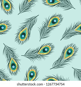 Seamless hand drawn peacock feathers pattern. Vector background.
