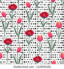 Seamless hand drawn pol kadots  pattern with red blooming  tulip flowers background. Vector summer design for fashion fabric and all prints on white