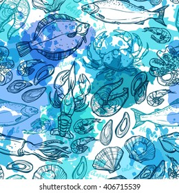 Seamless Hand Drawn Seafood Pattern With Blue Watercolor Texture