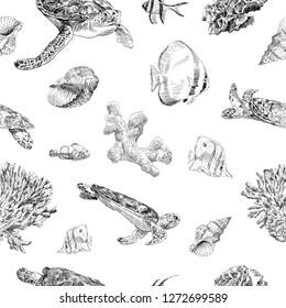 Seamless hand drawn seashells, fish, crabs, corals pattern backgrounds. Marine theme wallpaper. Vector illustration.