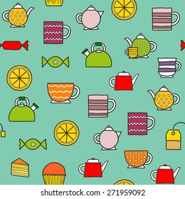 Seamless hand drawn teatime background for your design