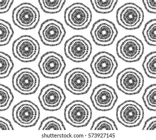 Seamless hand drawn texture. Abstract round flowers. Black and white design. Fabric print, packaging, wallpaper, wrapping paper, web design template. Vector graphic