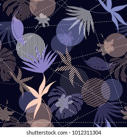 Seamless Hand Drawn tropical  silhouette exotic leaves  Pattern on colorful  mixed with stripes Print vector on navy blue background.