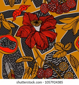 Seamless hand drawn tropical vector pattern with bright hibiscus flowers and exotic fruits on dark background.
