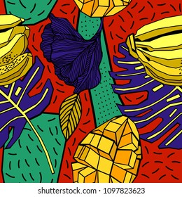 Seamless hand drawn tropical vector pattern with bright hibiscus flower, mango and exotic palm leaves.