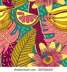 Seamless hand drawn tropical vector pattern with bright flowers, fruits and exotic palm leaves.