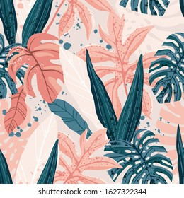 Seamless hand drawn tropical vector pattern with exotic palm leaves and various plants on light background.