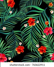Seamless hand drawn tropical vector pattern with bright hibiscus flowers and exotic palm leaves on dark background. Stock illustration.