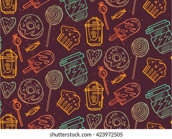 Seamless hand drawn vector background with fast food symbols. Menu pattern. Vector Illustration with funny food icons.Decorative elements for your packing design. Multicolor decor.