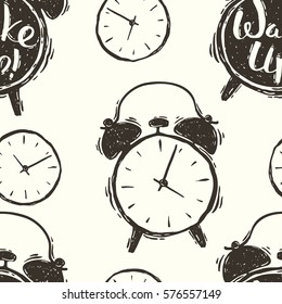 Seamless hand drawn vector pattern of the alarm clocks
