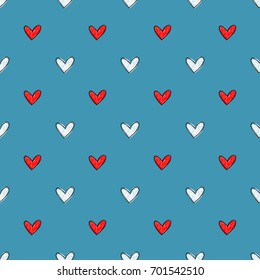 Seamless hand drawn vector pattern made with red and white hearts on the contrast background