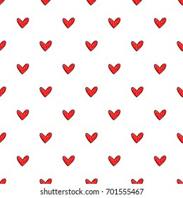 Seamless hand drawn vector pattern made with red hearts on white background