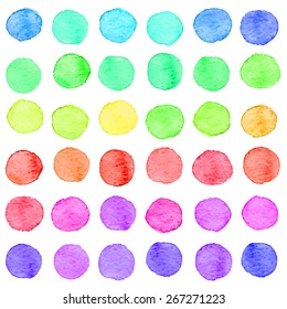 Seamless hand drawn watercolor pattern made of round rainbow dots, isolated over white.