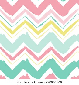 Seamless hand drawn zigzag pattern. Abstract minimalistic ornament with elements in trendy color. Simple vector repeating texture. Modern swatch. Flat background for textile, print & any your design