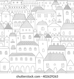 Seamless hand drown vector pattern of town with houses, black and white thin line