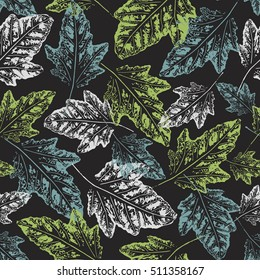 Seamless handcrafted pattern with autumn leaves. Vector grunge leaves print. Autumn leaves background. Vector seamless pattern. Infinity backdrop. Print fabric, Wrapping paper pattern