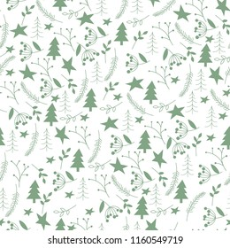 Seamless hand-drawn Christmas pattern. Vector abstract Hand drawn background for design and decoration textile, covers, package, wrapping paper. Scandinavian style background.
