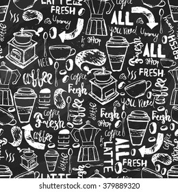 Seamless hand-drawn coffee pattern with lettering.Creative design  on dark background for wrapping, banners
