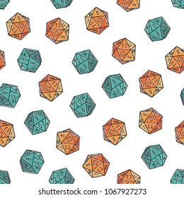Seamless hand-drawn crosshatched icosahedron print. Vector colorful illustration on light background. Original sketched d20 pattern. ESP10.