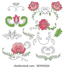 Seamless hand-drawn floral elements set. Vector illustration. Pastel color palette.