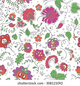 Seamless hand-drawn floral pattern. Vector illustration. Seamless background with hand-drawn flowers. Can be used for textile, wallpaper, surface design, backdrop, wrapping paper textures etc.