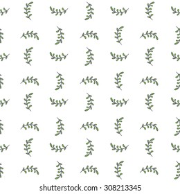 Seamless hand-drawn pattern with doodle leaves. Vector illustration. Seamless background with hand-drawn leaves. Can be used for textile, wallpaper, surface design, backdrop, wrapping paper textures