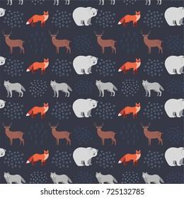 Seamless hand-drawn pattern with forest animals: fox, bear, deer, wolf on dark blue background. Scandinavian design style. Vector illustration