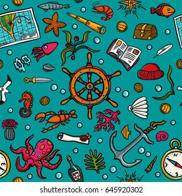 Seamless hand-drawn pattern. Marine theme. Sea inhabitants, plants, and shipboard equipment on a bright blue background. Backgrounds, wrapping paper, textiles, postcards, etc. Vector illustration