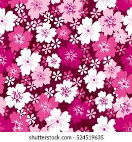Seamless hand-drawn vector flower pattern.