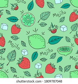 Seamless hand-drawn vector pattern of mojito for wallpapers kitchen cafe or restaurant. Black and white colors