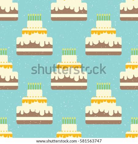 Seamless Happy Birthday Cake Pattern Vector Illustration