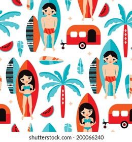 Seamless happy camper summer surfers with surf board and palm tree illustration background pattern in vector