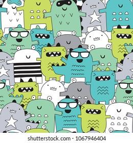 seamless happy monster pattern vector illustration