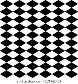 Seamless harlequin or argyle pattern made of black diamonds over white