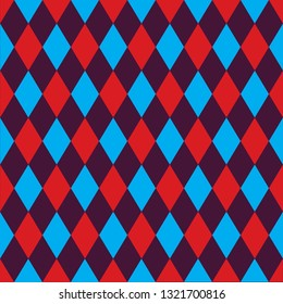 Seamless harlequin pattern background in red, blue and purple.