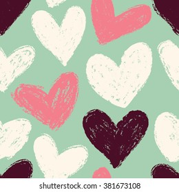 Seamless heart background in pretty colors. Great for Baby, Valentine's Day, Mother's Day, wedding, scrapbook, surface textures.