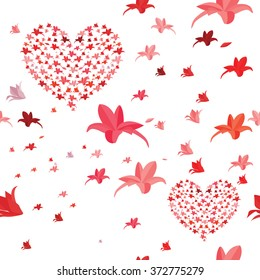Seamless heart and flowers pattern. Lily flowers in the shape of hart.