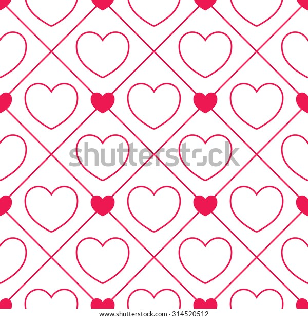 Seamless Heart Pattern Black Pink Retro Stock Vector Royalty Free 314520512