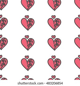 Seamless heart pattern with pink swirls on white background. For printing on the package, bag, cup, notebook, furniture, textiles, etc. Vector.